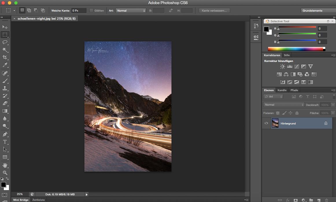 Making of Lichtspuren fotografieren Beitragsbild Schöllenen Night Bearbeitung in Photoshop