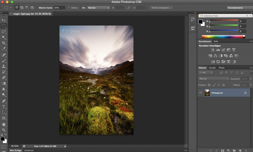 Making of Langzeitbelichtung Effekt für Wolken in Photoshop